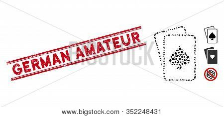 Rubber Red Stamp Watermark With German Amateur Text Between Double Parallel Lines, And Mosaic Spade