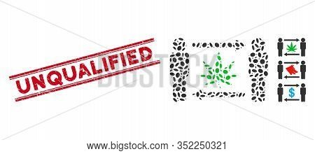 Grunge Red Stamp Seal With Unqualified Phrase Inside Double Parallel Lines, And Mosaic Men Cannabis