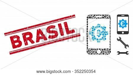 Grunge Red Stamp Seal With Brasil Text Inside Double Parallel Lines, And Collage Euro Mobile Options