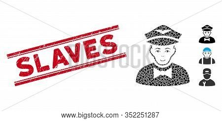 Distressed Red Stamp Watermark With Slaves Caption Between Double Parallel Lines, And Mosaic Airline