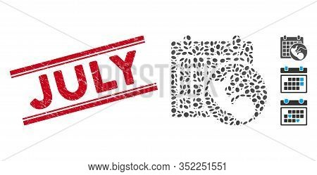 Rubber Red Stamp Seal With July Phrase Inside Double Parallel Lines, And Collage Embryo Calendar Ico