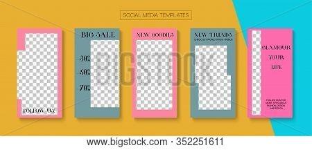 Mobile Stories Vector Collection. Blogger Modern Cards, Social Media Kit Template. Online Shop Fashi