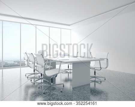 Modern Meeting Room Interior With Blank Wall, Furniture And Equipment. 3d Rendering
