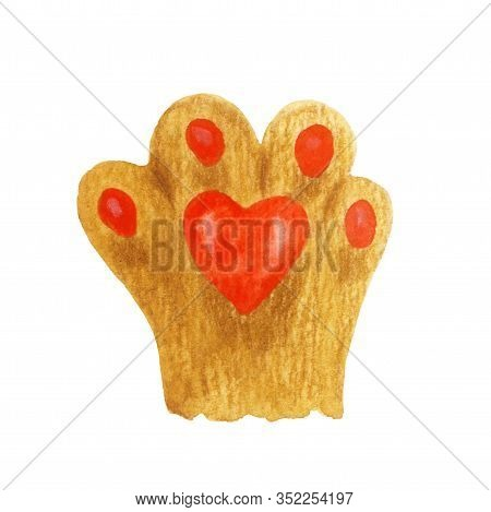 Cats Foot With A Red Heart Pad. Hand-drawn Illustration Of A Cat Paw With Watercolor And Colored Pen