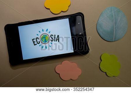 Bekasi, West Java, Indonesia. February 24, 2020 : Ecosia - Trees & Privacy Dev App On Smartphone Scr