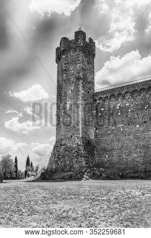 Medieval Italian Fortress, Iconic Landmark And One Of The Most Visited Sightseeing In Montalcino, Tu