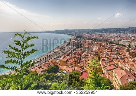 Aerial View Of The Waterfront In Nice, Cote D'azur, France