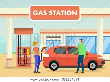 Woman Worker And Man Customer At Gas Station. Woman Refuels Car. Red Car. Man Stand Near Car At Gas