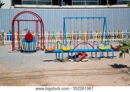 Large Red And White Playground For Children In The City Center , Children Playground With Outdoor Pl