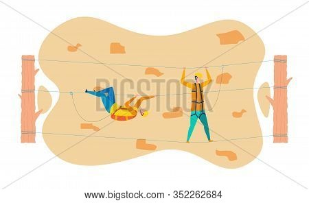 Rock Climbers Training Flat Vector Illustration. Tourists Relaxing In Adventure Park. Mountains Rope