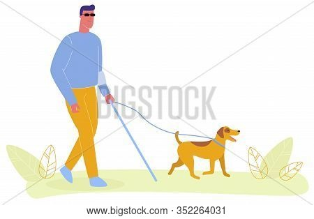 Blind Man In Glasses Walk With Cane Vector Illustration. Service Dog On Leash, Guide Assistance. Tra