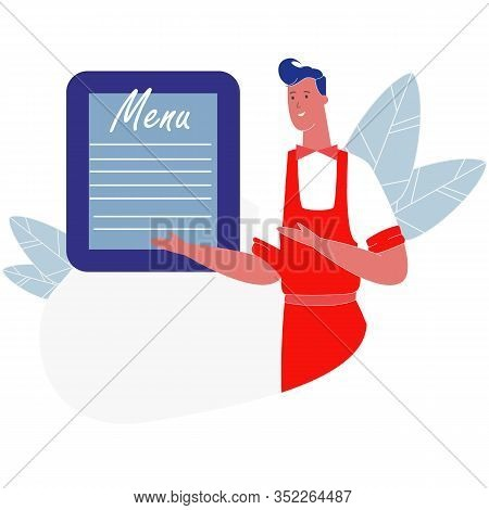 Young Handsome Smiling Man Waiter Wearing Uniform Presenting Menu Board Isolated On White Background