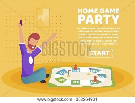 Advertising Poster Home Game Party Lettering. Strategic And Mental Home Entertainment. Flat Banner B