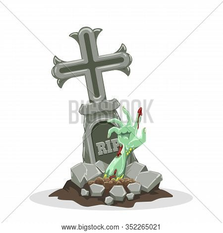 Zombie Hand Rises Out Of Grave. Halloween Gravestone Scary And Spooky Vector Image With Zombies Hand