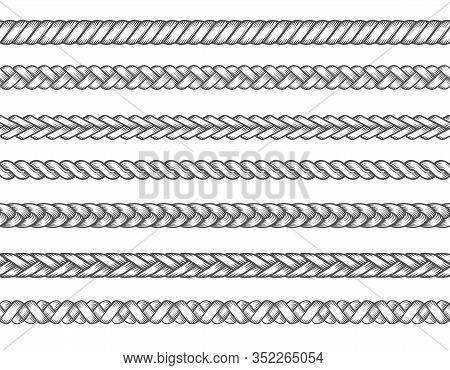 Knitted Braids. Fashion Textil Braid Set Vector Illustration, Braids Patterns, Seamless Braided Thre