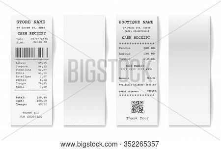 Blank Shop Receipts. Shopping Receipt Collection, Paper Supermarket Cashier Bills Isolated On White