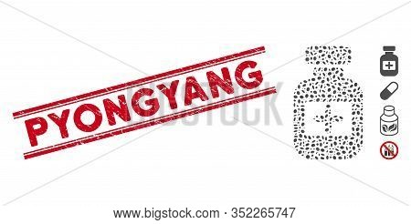 Distressed Red Stamp Seal With Pyongyang Phrase Between Double Parallel Lines, And Mosaic Medication
