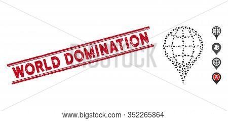 Grunge Red Stamp Seal With World Domination Phrase Inside Double Parallel Lines, And Mosaic Global L