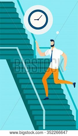 Man Office Worker Running To Job Up Stairs Cartoon. Career Growth, Goal Achievement And Development.