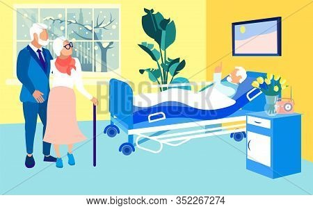 Senior Couple Visiting Infirm, Diseased Friend, Lying In Hospital Bed. Aged Man In Light, Spacious,