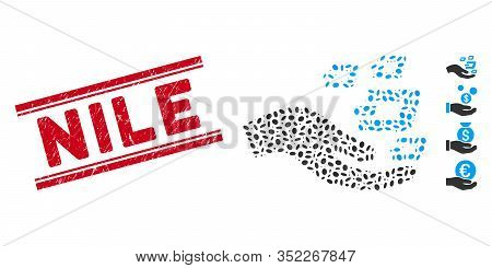 Rubber Red Stamp Seal With Nile Phrase Inside Double Parallel Lines, And Mosaic Hand Offer Dash Symb