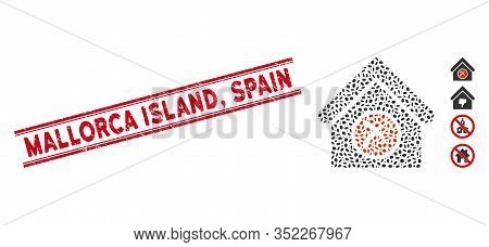 Grunge Red Stamp Seal With Mallorca Island, Spain Caption Between Double Parallel Lines, And Collage