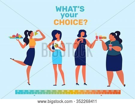 Girls Food Preferences Flat Banner Vector Template. Slim And Fat Women With Delicious Meal Cartoon C