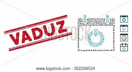 Grunge Red Stamp Watermark With Vaduz Text Between Double Parallel Lines, And Mosaic Turn On Calenda
