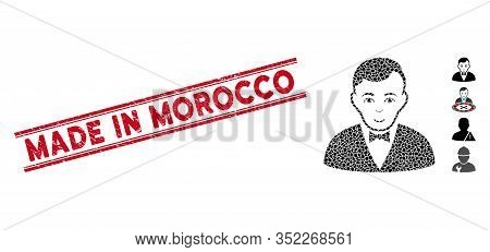 Rubber Red Stamp Seal With Made In Morocco Caption Inside Double Parallel Lines, And Mosaic Dealer I