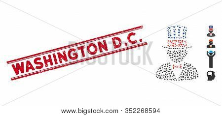 Distressed Red Stamp Seal With Washington D.c. Caption Between Double Parallel Lines, And Mosaic Cap