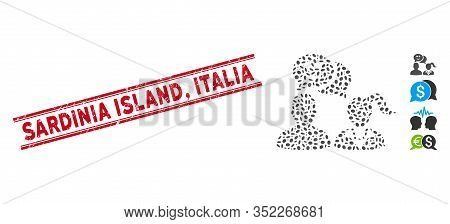 Rubber Red Stamp Seal With Sardinia Island, Italia Caption Inside Double Parallel Lines, And Collage