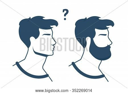 Advertising Flyer Choice Wearing Beard Or Not Flat. Young Man Weighs And Ponders In Which Direction