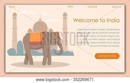 Elephant On Background Taj Mahal. Screenshot Website. Vector Illustration. Traveling Different Count