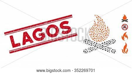 Rubber Red Stamp Watermark With Lagos Phrase Between Double Parallel Lines, And Mosaic Campfire Icon