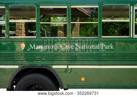Mammoth Cave National Park, United States: May 6, 2019: Green Mammoth Cave National Park Bus