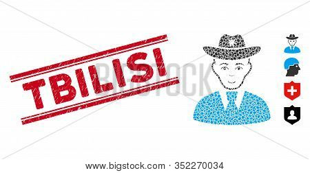 Rubber Red Stamp Watermark With Tbilisi Text Inside Double Parallel Lines, And Collage Sheriff Icon.