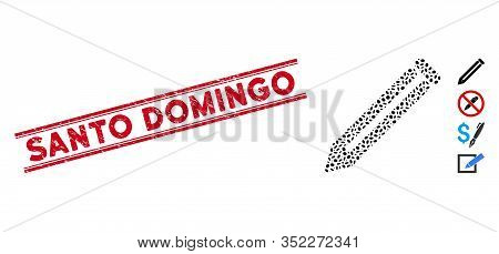 Grunge Red Stamp Seal With Santo Domingo Phrase Between Double Parallel Lines, And Mosaic Pencil Ico