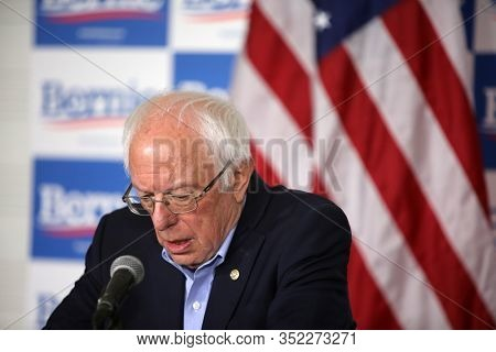 SANTA ANA, California / USA - February 21, 2010: Sen. Bernie Sanders speaks to the media during a press conference at Valley High School in Santa Ana, California during a rally. Editorial Use Only.