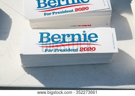 SANTA ANA, California / USA - February 21, 2010: Bernie Sanders Posters Bumper Stickers and Signs at a Bernie Sanders for President Rally in California. Editorial Use Only.
