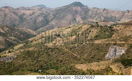 Remote Hillside Farmland Near Kalaw In Myanmar (burma). This Area Is Popular For Trekking With Overs