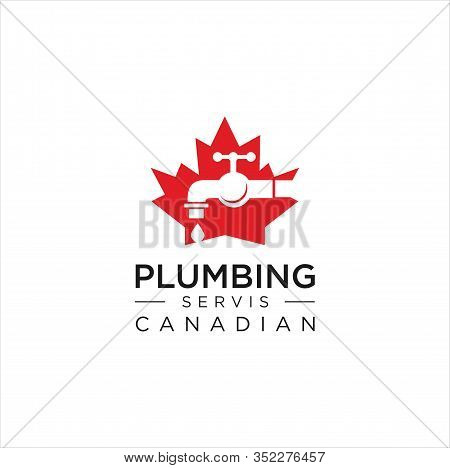 Maple Plumbing Logo Design Vector Illustration . Canadian Plumbing Logo . Plumbing Logo Template Des