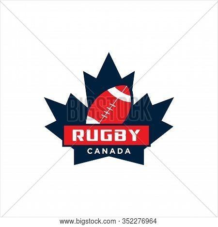 Canadian Rugby Logo Design Vector Illustration. Maple Leaf Rugby Logo . Canadian Sport Logo .