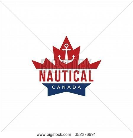 Nautical Maple Leaf Logo Stock Vector . Canadian Nautical Logo .