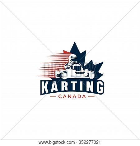 Canadian Karting Logo Design Vector Illustration. Maple Leaf Karting Logo . Canadian Sport Logo . Ca