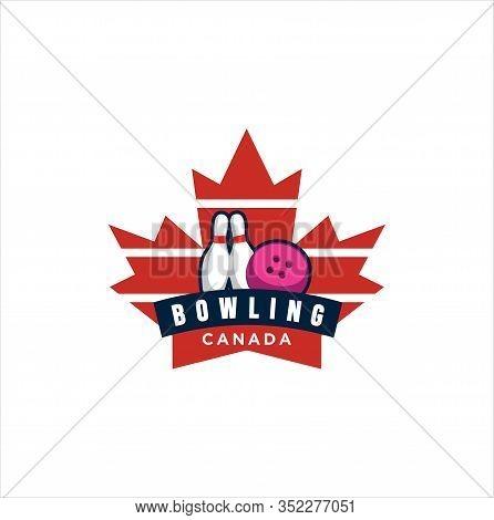 Canadian Bowling Logo Design Vector Illustration. Maple Leaf Bowling Logo . Canadian Sport Logo . Ca