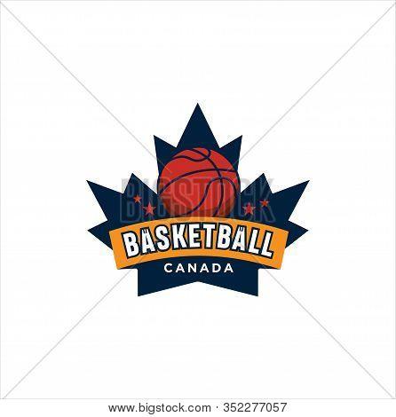 Canadian Basketball Logo Design Vector Illustration. Maple Leaf Basketball Logo . Canadian Sport Log