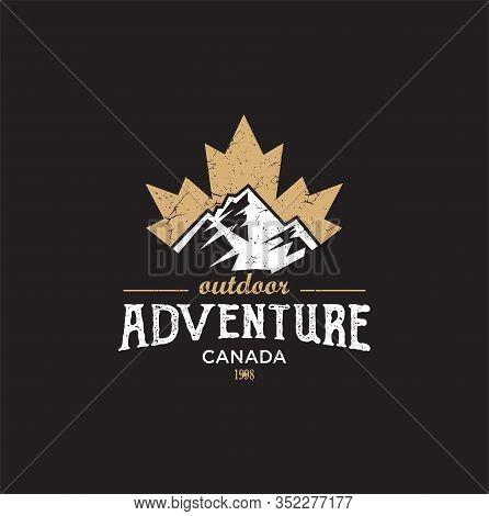 Canadian Adventure Logo Design Vector Illustration . Maple Leaf Mountain Logo . Canadian Sport Logo