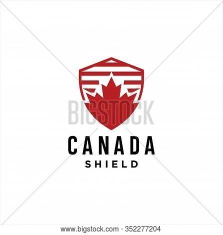 Maple Shield Logo Design . Canadian Shield Logo Design Vector Illustration