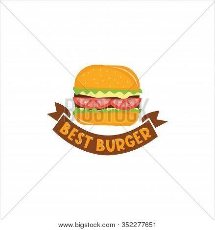 Burger Logo Design Vector Stock . Burger Delivery Logo Illustration . Burger 24 Hours Logo . Burger