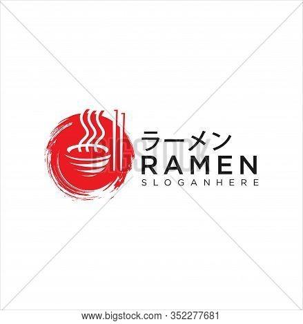 Ramen Logo Design Illustration . Ramen Menu Logo Template With Bowl . Japanese Food Logo Stock Vecto